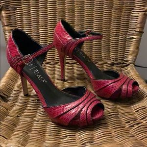 WHBM red snake skin peep toe strappy Heels size 7